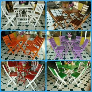 Ghế gỗ đa màu dành cho quán trả sữa giá rẻ