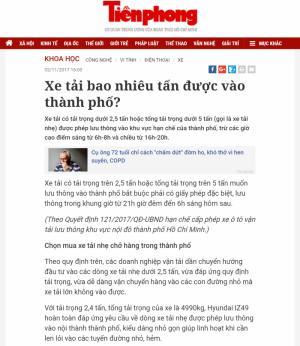 Báo Tiền Phong đưa tin về Partner XeTaiHyundai.com: Xe tải bao nhiêu tấn được vào thành phố?