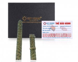 Dây đồng hồ Huy Hoàng da cá sấu size nhỏ màu rêu MH8261
