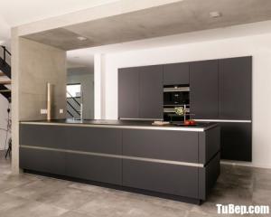 Tủ bếp gỗ Laminate chữ I màu xám thiết kế hiện đại – TBT55
