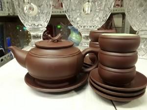 Bộ trà gốm Bát Tràng Tống Đai Nâu