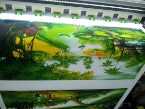 In Kỹ Thuật Số trực tiếp thực hiện in tranh canvas - in canvas mực nước - in tranh làng quê treo tường
