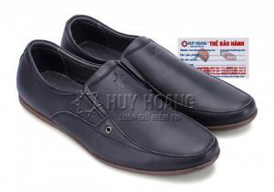 Giày nam Huy Hoàng có lỗ màu đen MH7123