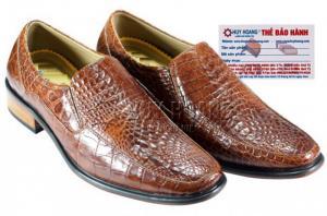Giày nam Huy Hoàng da cá sấu màu nâu đất MH7204