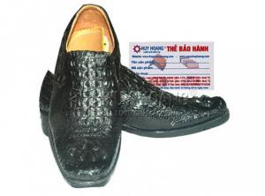 Giày nam Huy Hoàng da cá sấu nguyên con màu đen MH7205