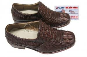 Giày nam Huy Hoàng da cá sấu nguyên con màu nâu đỏ MH7206