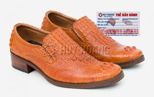 Giày nam Huy Hoàng da cá sấu nguyên con màu vàng MH7207