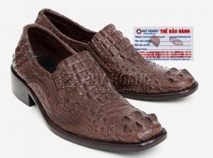 Giày nam Huy Hoàng da cá sấu nguyên con màu nâu đất MH7208