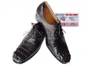 Giày nam Huy Hoàng da cá sấu cột dây màu đen MH7209