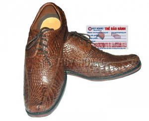 Giày nam Huy Hoàng da cá sấu cột dây màu nâu đỏ MH7210