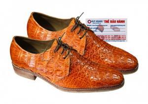 Giày nam Huy Hoàng da cá sấu cột dây màu vàng MH7211