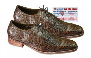 Giày nam Huy Hoàng da cá sấu cột dây màu nâu đất MH7212
