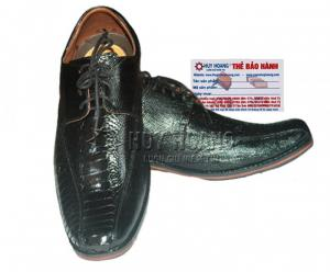 Giày nam da đà điểu Huy Hoàng màu đen MH7401