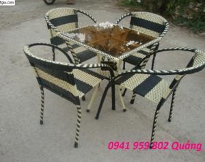 Bàn ghế cafe - bàn ghế nhựa mây