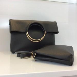 SET túi da kết hợp khoen tròn sắt tạo sự tinh tế -kèm 1 túi ví tiện dụng