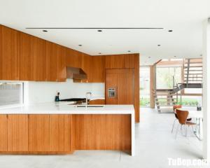 Tủ bếp gỗ Laminate thiết kế chữ U mới lạ – TBT57