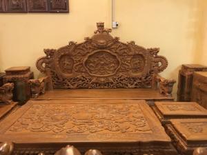 Bộ bàn ghế rồng đẹp siêu VIP gỗ gõ đỏ 12 món chân 15 -