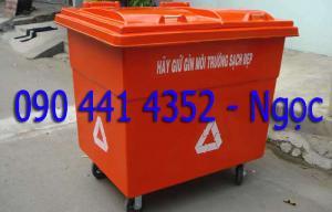 Thùng rác 480 - 660 lít, xe gom rác 1000 lít. Cung cấp xe đẩy rác composite, thùng rác môi trường đô thị tphcm