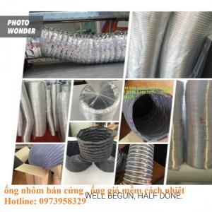 ống gió mềm nhôm có bảo ôn , ống nhôm nhún , ống nhôm bán cứng