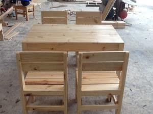 Ghế cafe gỗ cóc lưng tựa
