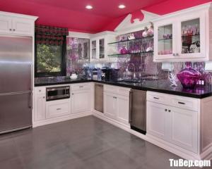 Tủ bếp gỗ Dỗi màu trắng sơn men chữ L có khung tủ lạnh – TBT60