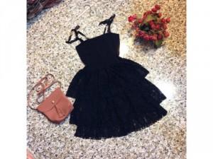 Set áo thắt nơ phối quần váy ren hoa