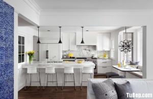 Tủ bếp gỗ Xoan Đào sơn men trắng tinh tế
