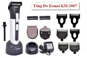 Tông đơ cắt tóc Kemei 3007 Tặng 2 lưỡi đồng 2 pin sạc , tiện dụng, an toàn - MSN383186