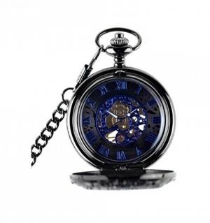 Đồng hồ quả quýt bỏ túi LYMFHCH Steampunk Blue Hands Scale Mechanical Skeleton CSB1012