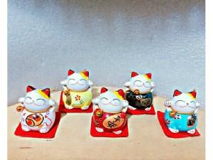 Bộ 5 Tượng Mèo Chiêu Tài Để Bàn