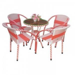 Bộ bàn ghế cafe nhựa giả mây HNT-083