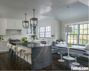 Tủ bếp chữ L chất liệu Sồi Mỹ sơn men trắng kết hợp bàn đảo – TBN0058