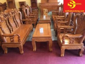 Bộ bàn ghế gõ đỏ chạm đào 6 món tay 10-BBG36