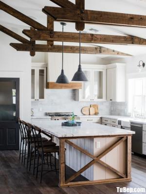 Tủ bếp chất liệu Xoan đào gam màu trắng kết hợp bàn đảo – TBN0059