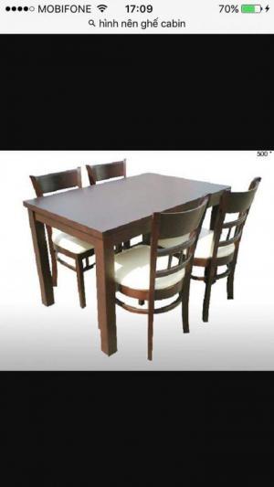Bàn ghế ca bin gỗ cao su