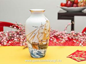 Bình hoa Thuận Buồm 27 x 14.5 cm 112776322 gốm sứ Minh Long I