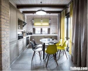 Tủ bếp chất liệu Sồi sơn men trắng kết hợp bàn ăn xinh xắn – TBN5062