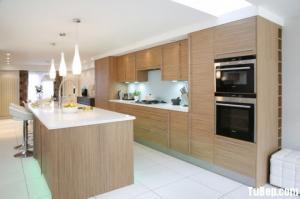 Tủ bếp Laminate vân gỗ tinh tế