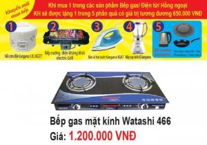 BẾP GAS ĐÔI MẶT KÍNH WATASHI 466