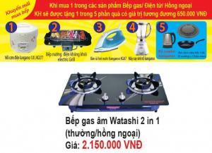Bếp Gas Đôi Mặt Kính Watashi 2 in 1