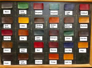 Bảng màu nhuộm tùy ý của khách hàng, màu huộm của hãng Fiebing Dye Mỹ