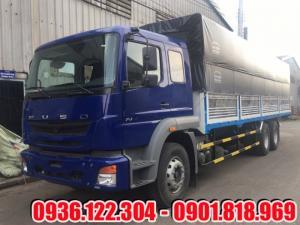 Xe tải Fuso FJ 3 chân 15 tấn thùng mui bạt màu xanh
