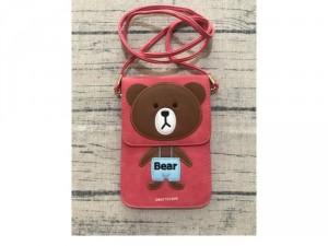 Túi đeo đựng điện thoại hình gấu dễ thương, Túi đeo mini đựng điện thoại 2 ngăn bằng da