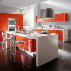 Tủ bếp chữ I chất liệu Veneer kết hợp bàn đảo mặt đá sang trọng – TBN0068
