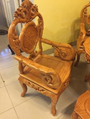 Bộ bàn ghế kiểu nho trúc 7 món gỗ gõ đỏ-BBG117