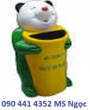 Sản xuất thùng rác hình con vật,thùng rác hình con thú:thùng rác gấu trúc, thùng rác chim cánh cụt màu xanh lá....