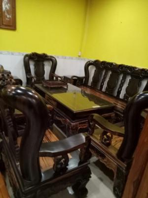 Bộ bàn ghế  chạm đào gỗ Mun  tay 14, 10 món-BBG108