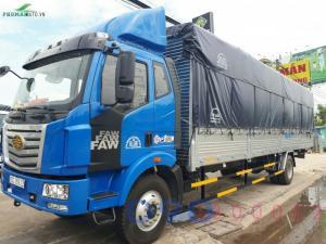 Xe tải FAW 7.8 tấn thùng dài 9.8 mét gắn cẩu Tadano 5 tấn 4 khúc