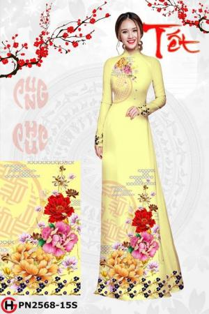 Vải áo dài Hoa Mẫu Đơn Đón Xuân AD PN2568