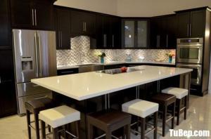 Tủ bếp chữ L chất liệu Sồi sơn men trắng kết hợp bàn đảo Pu cao cấp – TBN0071